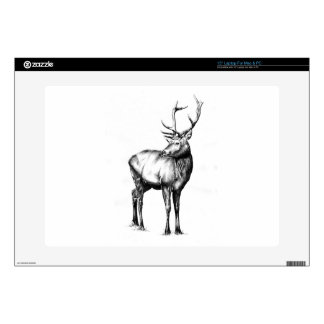 Antique stag art drawing handmade nature laptop decal