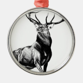 Antique stag art drawing handmade nature metal ornament