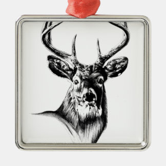 Antique stag art drawing handmade nature square metal christmas ornament