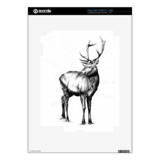 Antique stag art drawing handmade nature skin for iPad 2
