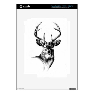 Antique stag art drawing handmade nature skin for iPad 3