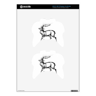 Antique stag art drawing handmade nature xbox 360 controller skins