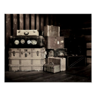 Antique Steamer Travel Trunks & Suitcases Poster