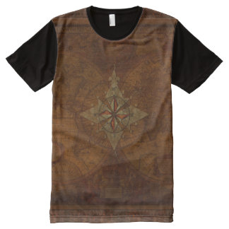 Antique Steampunk Compass Rose & Old World Map All-Over-Print Shirt