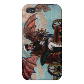 Antique Steampunk Flying Machine Print iPhone 4 Cover