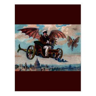 Antique Steampunk Flying Machine Print Postcard