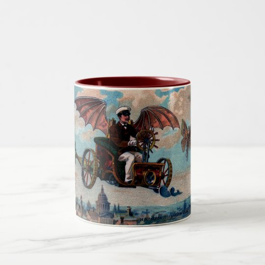 Antique Steampunk Flying Machine Print Two-Tone Coffee Mug