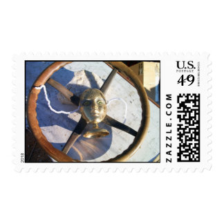 antique steering wheel and spirit of Mardi Gras Postage Stamps