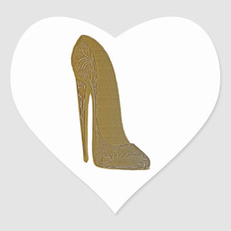 Antique Stiletto Shoe High Heel Art Gifts Heart Sticker