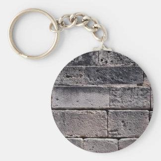 Antique stone wall, Phaistos, Crete, Greece Basic Round Button Keychain
