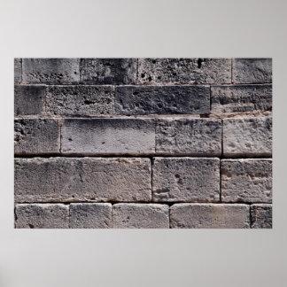 Antique stone wall, Phaistos, Crete, Greece Print