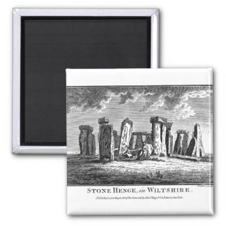Antique Stonehenge woodcut Stone Circle Engraving 2 Inch Square Magnet