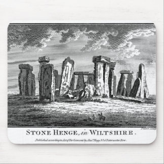 Antique Stonehenge woodcut Stone Circle Engraving Mouse Pad