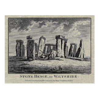 Antique Stonehenge woodcut Stone Circle Engraving Postcard