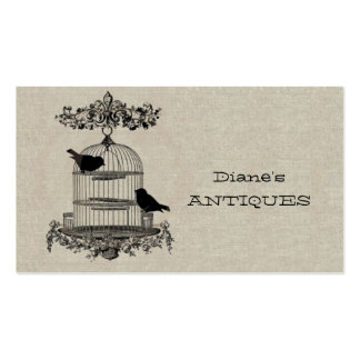 Antique Store Shop Vintage Old Cage Bird Brown Double-Sided Standard Business Cards (Pack Of 100)