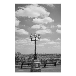 antique street light and london bus poster