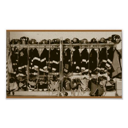 Antique Style Bunker Gear Pic Poster