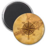Antique Style Compass Rose 2 Inch Round Magnet