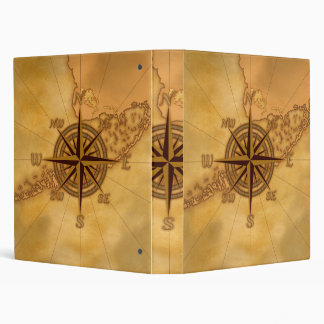 Antique Style Compass Rose 3 Ring Binder