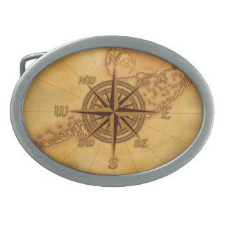 Antique Style Compass Rose Belt Buckle