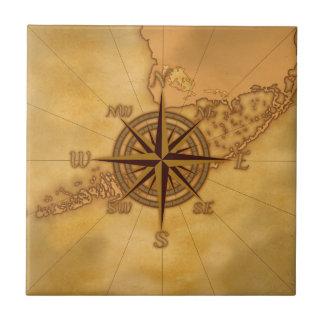Antique Style Compass Rose Ceramic Tile