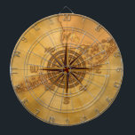 "Antique Style Compass Rose Dartboard<br><div class=""desc"">Vintage style Compass Rose art on a antique style nautical map of the Florida keys.</div>"