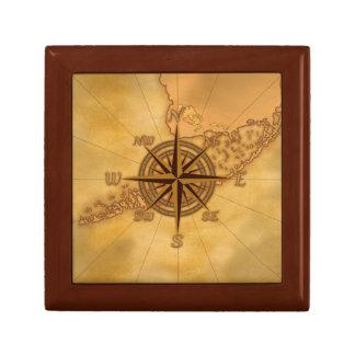 Antique Style Compass Rose Keepsake Box
