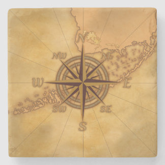 Antique Style Compass Rose Stone Coaster