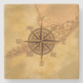 Antique Style Compass Rose Stone Beverage Coaster