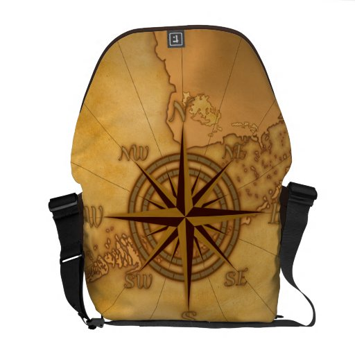 Antique Style Compass Rose Messenger Bags