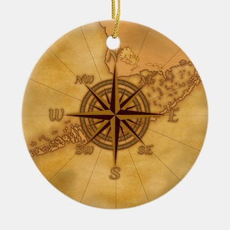 Antique Style Compass Rose Christmas Ornament