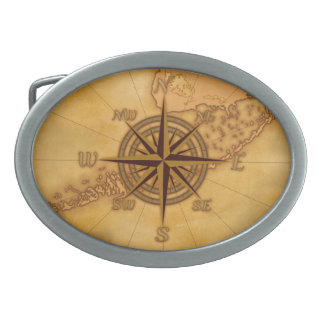 Antique Style Compass Rose Oval Belt Buckle