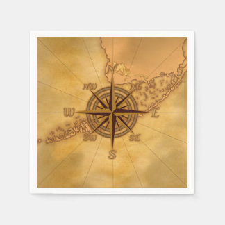 Antique Style Compass Rose Paper Napkin