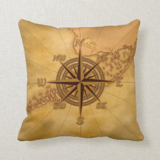 Antique Style Compass Rose Pillow