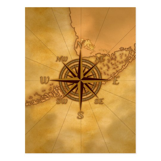 Antique Style Compass Rose Postcard