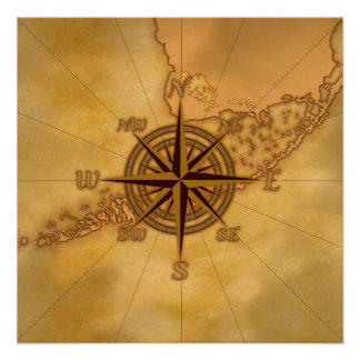 Antique Style Compass Rose Poster