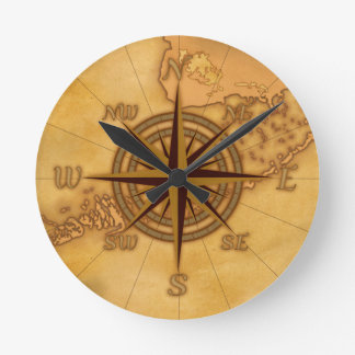 Antique Style Compass Rose Round Clock