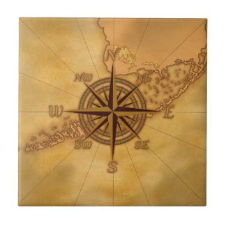 Antique Style Compass Rose Small Square Tile