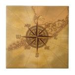 Antique Style Compass Rose Tile