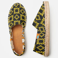 Antique Style Gold Leaf Circle Frame Pattern, ZEA Espadrilles
