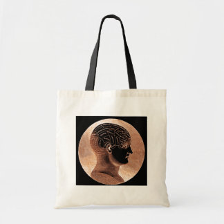 Antique Style Golden Mind Phrenology head Tote Bag