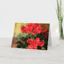 Antique Style Red Geranium Flowers  Gifts Card