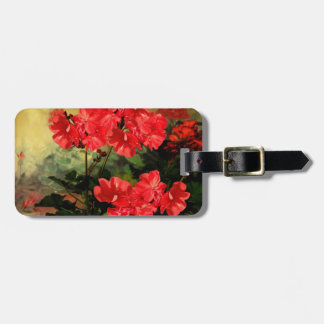 Antique Style Red Geranium Flowers  Gifts Luggage Tag