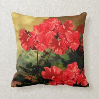 Antique Style Red Geranium Flowers Pillow
