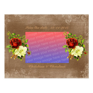 Antique style roses save the date postcards
