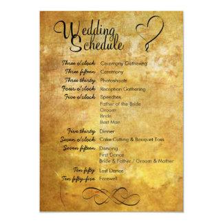 Antique Style Wedding Schedule Card