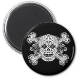 Antique Sugar Skull & Crossbones 2 Inch Round Magnet