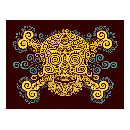 Antique Sugar Skull & Crossbones 2c Postcard