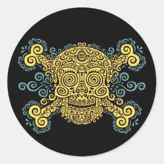 Antique Sugar Skull & Crossbones 2c Classic Round Sticker
