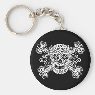 Antique Sugar Skull & Crossbones Basic Round Button Keychain